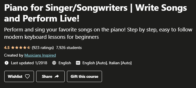 Piano for Singer-Songwriters