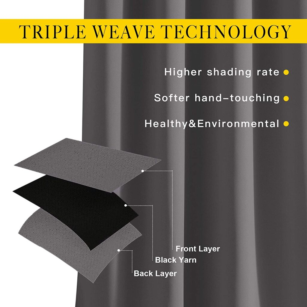 Triple layer soundproof curtains