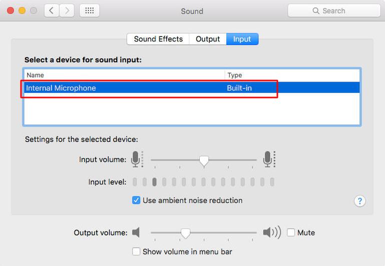 mac mic Input tab microphone list